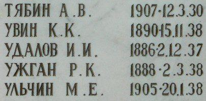 Фрагмент стеллы с именем Иоасафа (Удалова) на Архангельском кладбище Казани