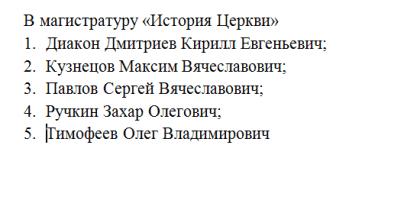 Список абитуриентов поступивших в магистратуру «История Церкви»